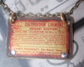 """Vintage Poison Label Necklace Apothecary chloroform brass 18"""" chain"""
