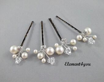 Ivory Pearl Clip, Bridal Hair Pins, Wedding Hair Accessories, Swarovski Pearl Wedding Hair Pins, Set of 4, Floral Vine, White hair clips.