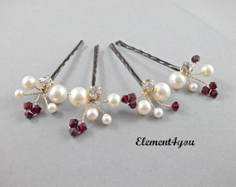 Bridal hair clip accessory, Bobby pins, Set of 4, Ivory pearls, Red crystals, Hair vines clips, Bridesmaid hair accessories, Color choice