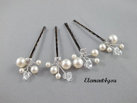 Hair Pins : Hair Pins, Wedding Hair Accessories, Swarovski Pearl Wedding Hair Pins ...