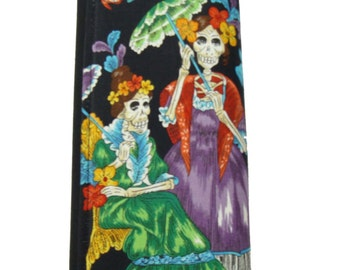 Woman Wallet With Skulls In Party Day of the Dead Skeleton Exterior US Handmade Black Aexander Henry Fabric, new