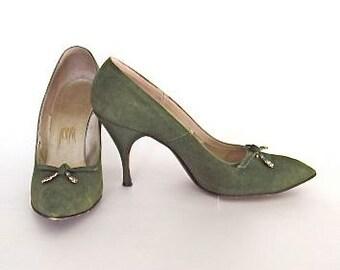 Designer High Heels, Green Suede, Stiletto, Rhinestones, Vintage