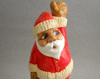 Santa figure hand carved wood