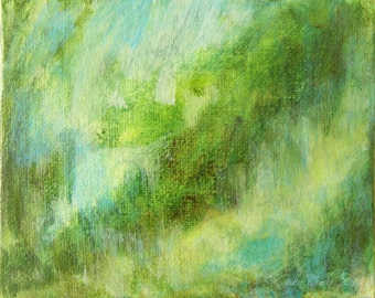 Small landscape abstract forest green, light blue, greens 4x5 inches small abstract