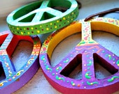 Expiring Soon - Hand Painted Peace Signs 3 inch Ornaments Set of 3 Childrens Room Nursery College Dorm Hippie Bohemian, Christmas, Gift