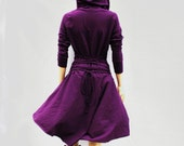 Dress , Hoodies dress, purple Dress, Casual , Day Dress ,Low High Dress, Woman Dress