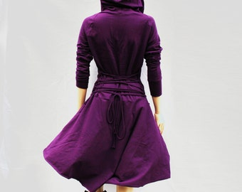 Dress , Hoodies dress, purple Dress, Casual , Day Dress ,Low High Dress, Woman Dress
