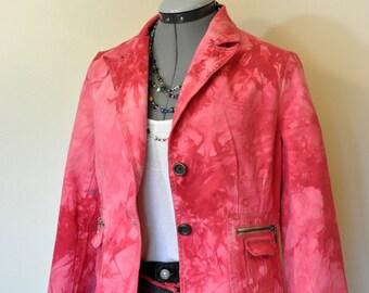 "Red Medium Denim JACKET - Cherry Red Hand Dyed Upcycled Relativity Cotton Blazer Jacket - Adult Womens Size Petite Medium (38"" chest)"