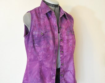 "Purple Medium Denim VEST - Violet Purple Hand Dyed Upcycled Sonoma Denim Shirt Vest - Adult Womens Size Medium (38"" chest)"