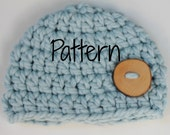 Crocheting Pattern Newborn Chunky Button Beanie Hat, Baby Photography Prop, Instant Download