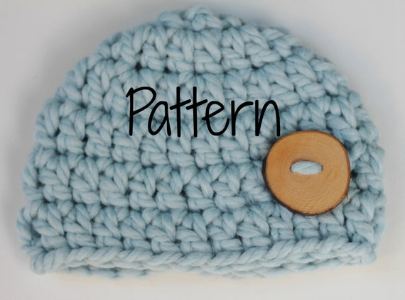 Free Crochet Pattern For Chunky Baby Hat : Crocheting Pattern Newborn Chunky Button Beanie Hat Baby