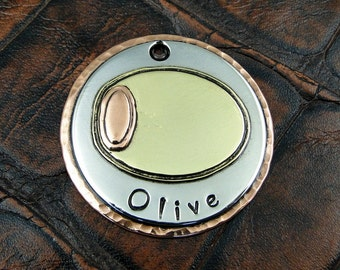 Custom Dog Tag, Olive, ID Dog Tag, Pet Tag, Personalized Tag