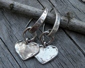 Artisan Raw Sterling Silver Heart Earrings Handcrafted Textured Organic Urban Modern Rustic Unique OOAK
