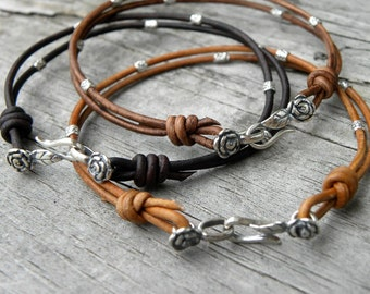 Sterling Silver and Leather The Little Flower Bracelet