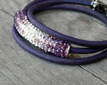 Pave Crystal Bead Amethyst Purple Leather Wrap Bracelet Rhinestone Contemporary Modern Wrapping