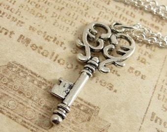 Decorative Heart Key Necklace, Silver Plated Heart Key Charm on a Silver Cable Chain