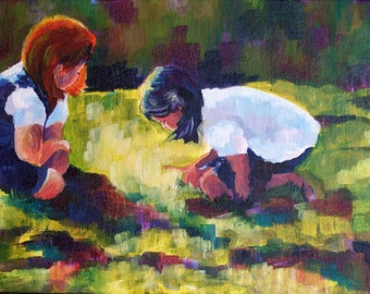 Original Acrylic Painting on canvas - 10 x 30 inches - Treasure in the Grass