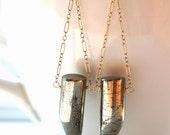 g  i  l  d  e  d .... handmade 14K gold filled and pyrite horn earrings