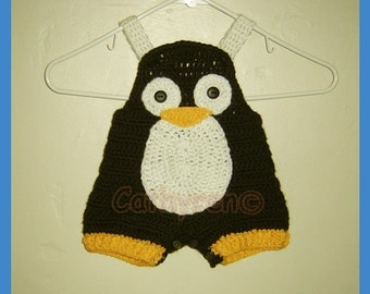 Baby Penguin Overall Shorties, Buttons at Legs for Easy Change - INSTANT DOWNLOAD Crochet Pattern