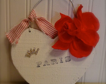 Hand Painted Wood Heart - Wall Art - Vintage Altered Art Red Rose - Paris - French Inspired Shabby Chic Home Decor