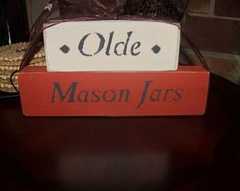 Olde Mason Jars Decorative Wooden Block Set Handmade Home Decor