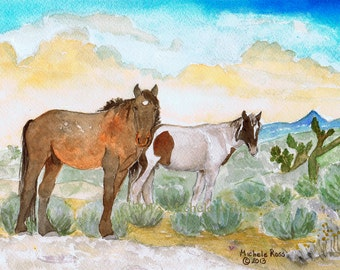 Watercolor Painting Wild Mustang Horses