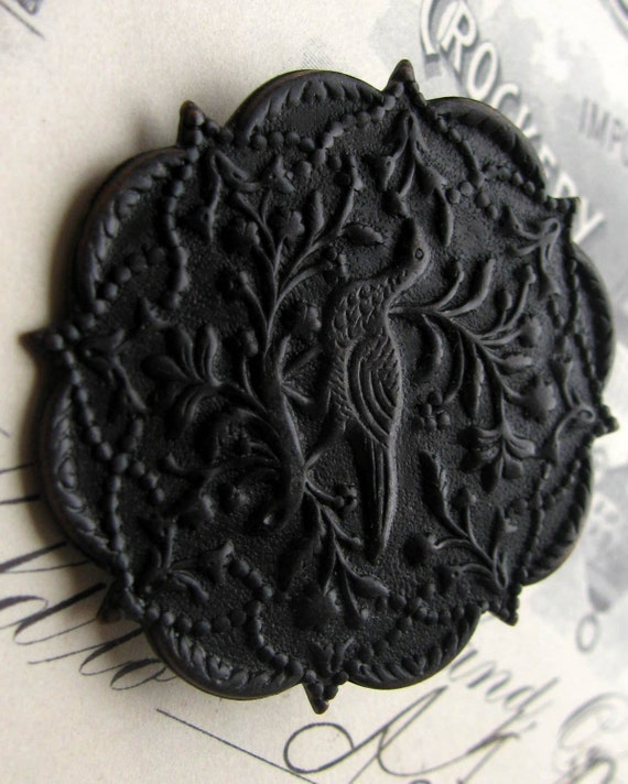 The Pheasant - Arts and Crafts antiqued brass finding disc (1 medallion) partridge, brass stamping, aged black patina, William Morris