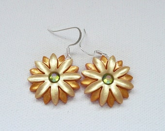 Gold and Yellow Flower with Rhinestone Center Dangle Earrings