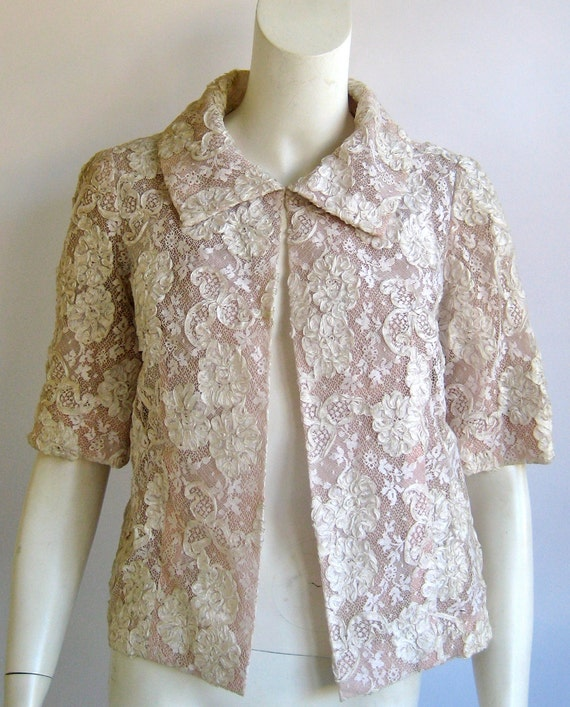 vtg HOWARD GREER lace ribbon nude silk chiffon illusion bolero jacket