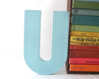 aqua blue letter U vintage marquee sign painted business signage industrial modern wall hanging home decor initial personalized decorative