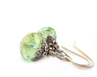 Pale Green Earrings - Vintage Inspired - Petite Dangles - Spring Green - Bridal Jewelry - RockStoneTreasures - Greenery