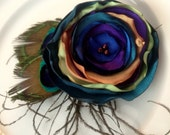 Peacock Passion Flower Clip with Natural Feathers