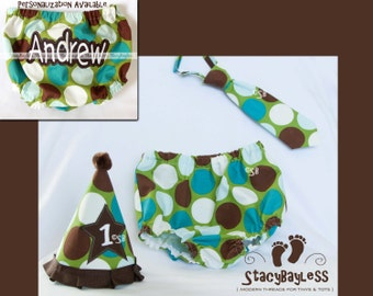 3 PIECE SET Party Hat - Diaper Cover - Necktie for Cake Smash or First Birthday - Baby - Boys