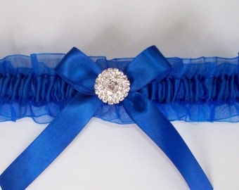 Royal Blue Garter with Rhinestone Center