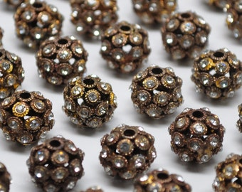 12 mm Vintage Rhinestone Beads Gold Toned Vintage Style Pot Metal 5 Pieces