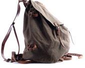 Mens Canvas Backpack . 1930s Miliraty Rucksack Ruck Sack . Large Bag