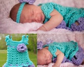 Outfit baby flowers Newborn purple teal Take home infant girl dress Shower gift ribbon bowtie Christening Blessing Baptism Birthday
