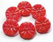 Orange Coral Glass Buttons Vintage Aurora Borealis Luster 19mm Set of 6