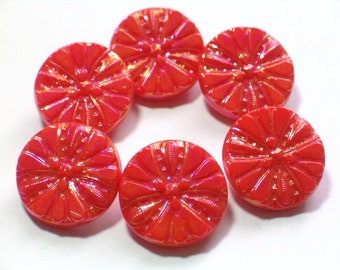 Orange Coral Glass Buttons Vintage Aurora Borealis Luster 19mm Set of 6