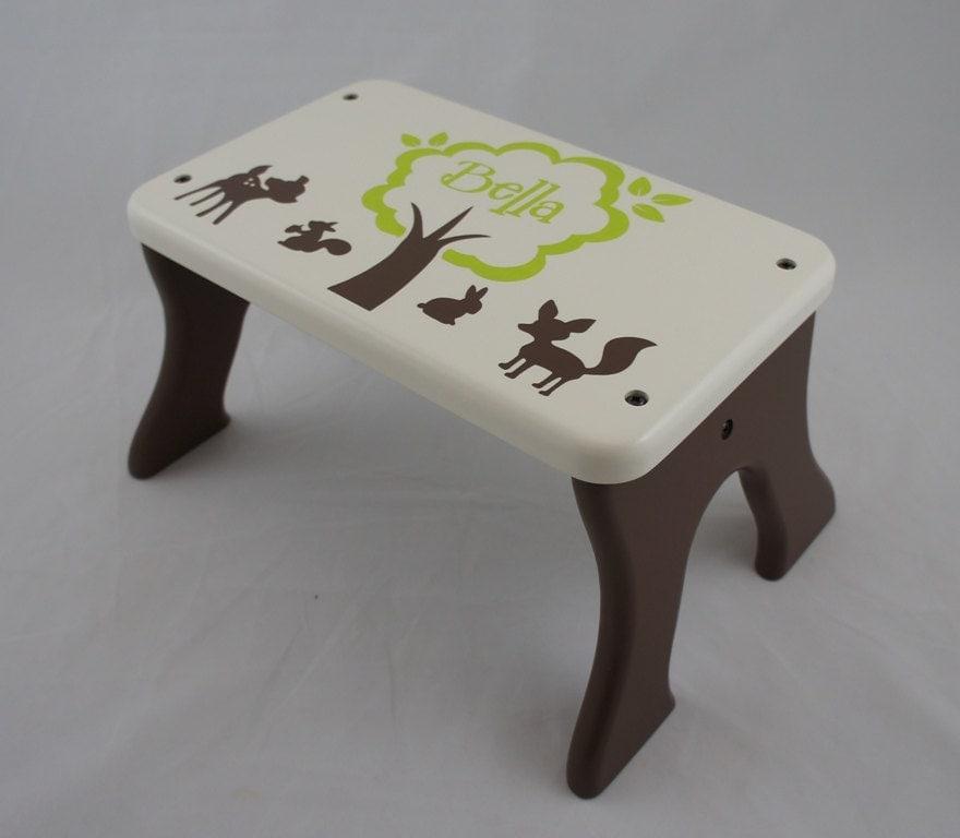 Personalized Step Stool Wooden Woodland Animal By Laffydaffy