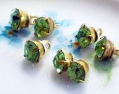 N1446Q Vintage Glass Buttons Rhinestone Doll Clothing Tiny Swarovski Peridot Green NOS