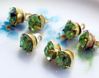 N1446Q Vintage Glass Buttons Rhinestone Doll Clothing Tiny Swarovski Peridot Green NOS