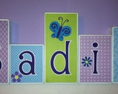 Personalized Wood Blocks - M2M NoJo's Beautiful Butterfly Bedding- Baby Room Decor Custom Name Letters - Purple,  Aqua - Baby Letter Blocks