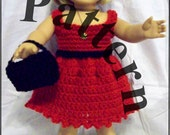 Pattern for American Girl and similar 18 inch doll;  four-piece crochet set in black and red; dress, bag, shoes