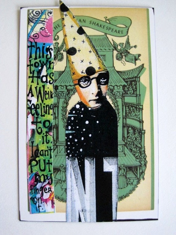 Mixed Media ALTERED ART  POSTCARD Weird Feeling