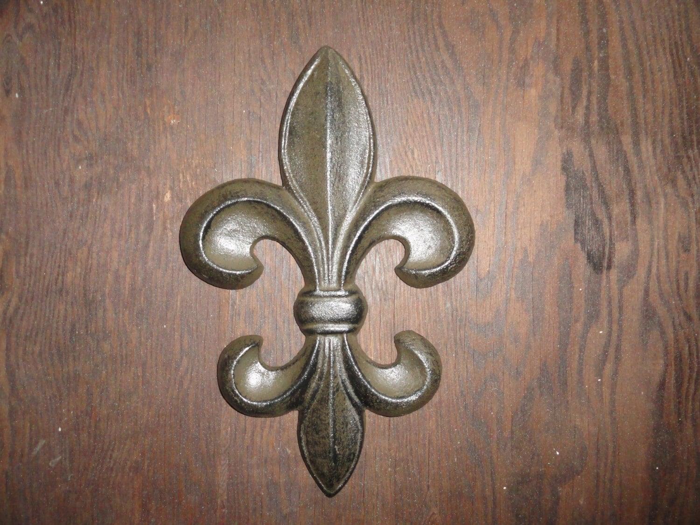 Fleur De Lis Cast Iron Door Or Wall Decor Antique Finish For A