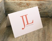 Personalized Stationary Big Initials - Mens Custom Stationery Set of 12 Notecards Thank You Notes Folded Masculine Simple Classic