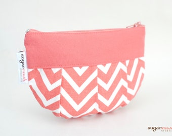 Cosmo Coral Chevron Pleated Make Up Bag