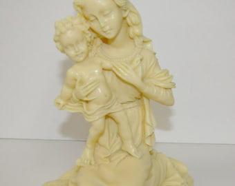 Blessed Mother Statue, Kneeling, Pllow, Baby Jesus, 1lb., Vintage 1960's