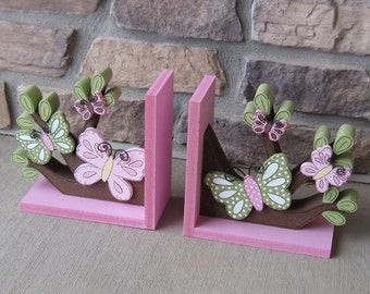 READY TO SHIP Butterflies and Branches bookends for children library, bookshelf